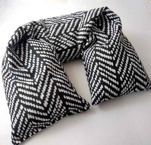 Microwavable Neck Pillow made with Organic cotton. Herring bone print fabric.