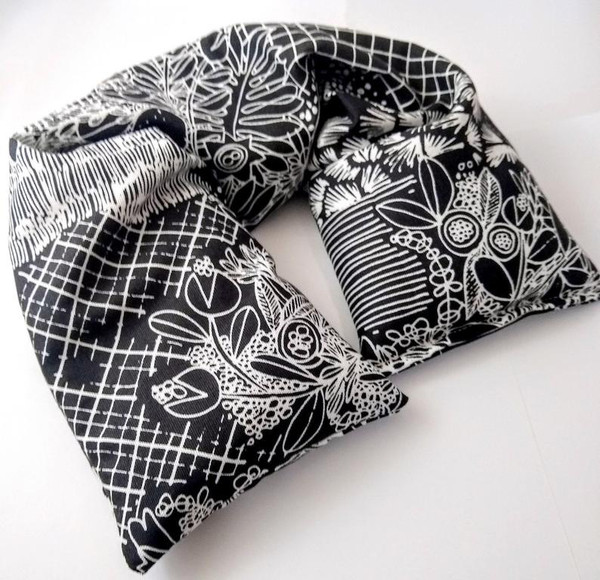 Microwavable neck Pillow by Aquarian Bath made with GOTS organic cotton and Organic flaxseed and herbs