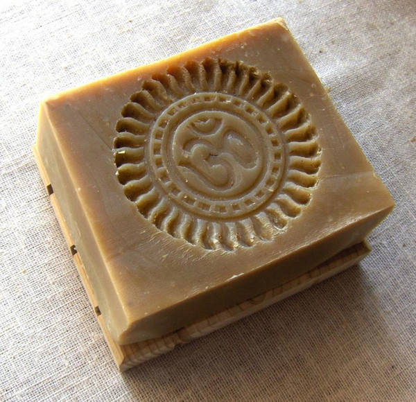Neem Olive Oil soap with Om stamp by Aquarian Bath