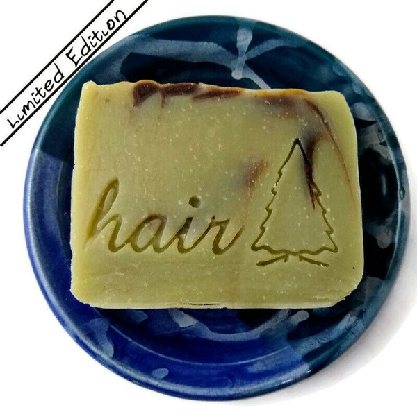 Silver Fir Shampoo Bar Limited edition. Marbled green and brown soap. Rectangle