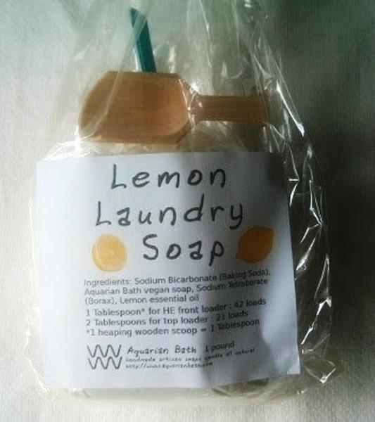 1 pound lemon laundry soap by Aquarian Bath in biodegradable cellulose bag