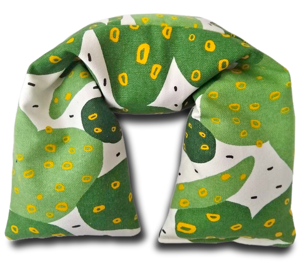 Organic cotton microwavable neck pillow. Green cacti print by AquarianBath.com