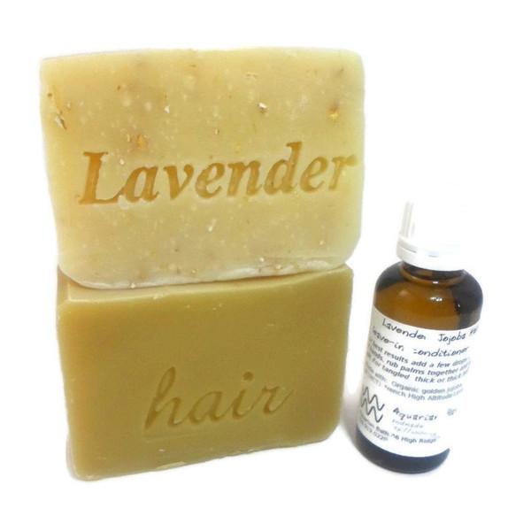 Lavender soap, Lavender vanilla shampoo, Lavender Jojoba serum with orifice reducer lid