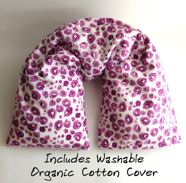 Pink and white dots Organic cotton microwavable neck pillow with washable organic cotton cover