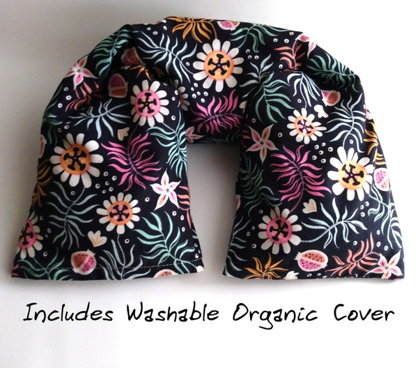 Microwavable neck Pillow with Washable Cover by Aquarian Bath. made with GOTS organic cotton.