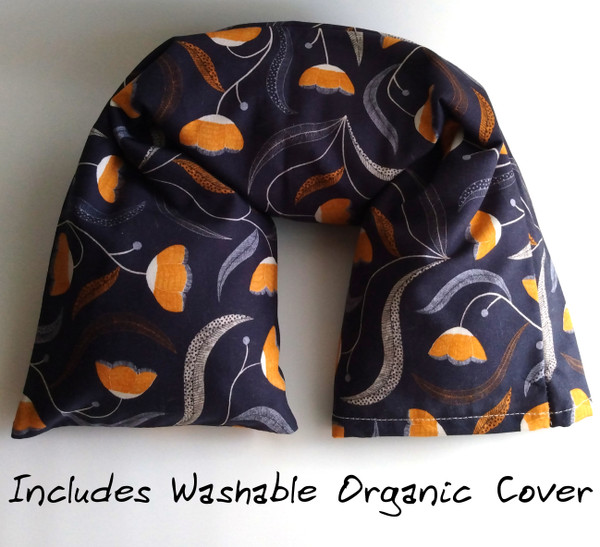 Fall Flowers Organic cotton microwavable Neck pillow made with GOTS organic cotton