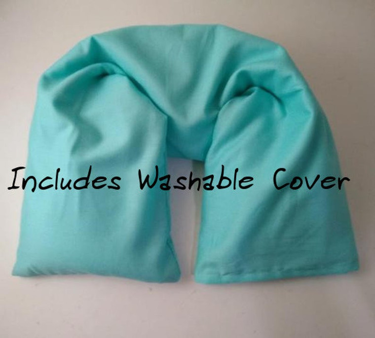 Blue Microwavable Neck Pillow made with GOTS Organic cotton