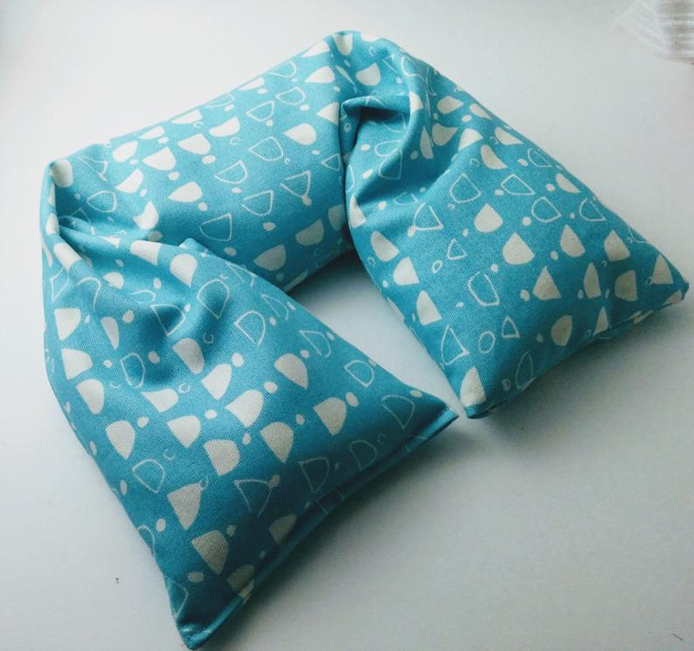 Turquoise and white Organic cotton canvas microwavable neck pillow by Aquarian Bath