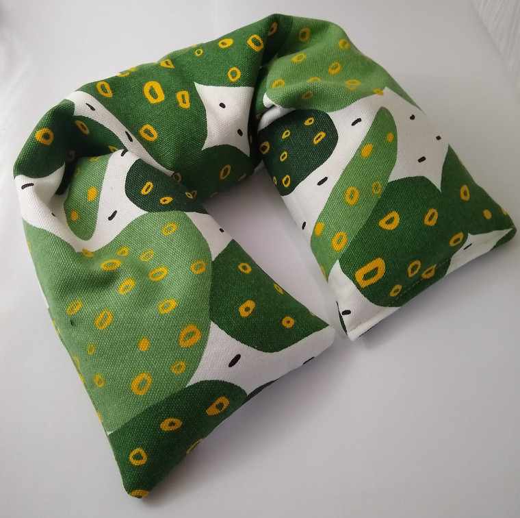 Organic cotton microwavable neck pillow. Green cacti print by AquarianBath.com