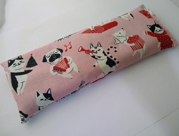 Organic cotton Christmas Cat and Dog Eye Pillow, Yoga Eye Pillow