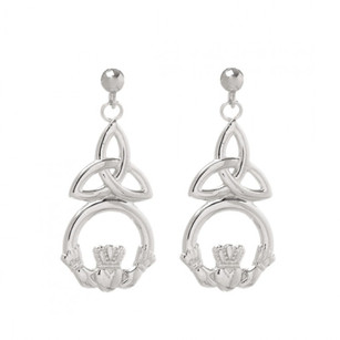 Large Claddagh Trinity Knot Drop Earrings