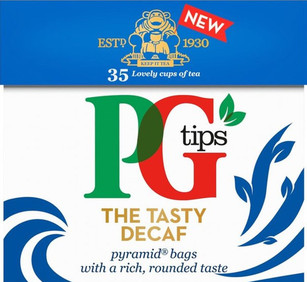 PG Tips Decaf Tea. Loose leaf tea with antioxidants in 35 pyramid shaped decaffeinated tea bags.