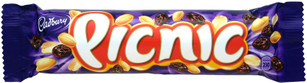 Cadbury Picnic is a British chocolate bar with an outer-layer of dairy milk chocolate encompassing caramel, dried grapes, peanuts and crispy wafer.