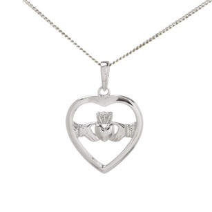 Heart Claddagh Pendant And Chain