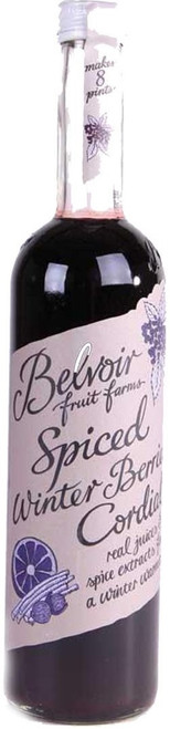 Belvoir Spiced Winter Berry Mulled Cordial made with elderberry, blackberry, and orange juices  and spices like nutmeg, cloves and cinnamon.