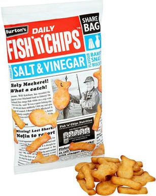 Burtons Fish & Chips Large Multipack Bag - Salt & Vinegar 125g