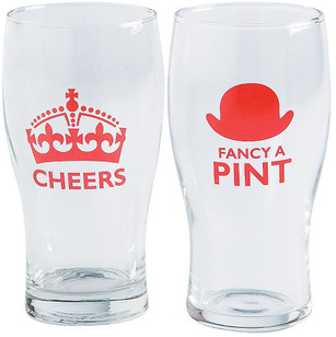 Cheers / Fancy A Pint - 16oz Glasses - Pack of 4