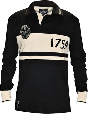 Guinness Black and Cream Classic Rugby Jersey