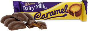 Caramel filled Cadbury dairy milk, milk chocolates.