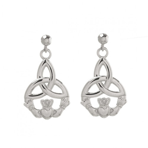 Small CladdaghTrinity Knot Drop Earrings