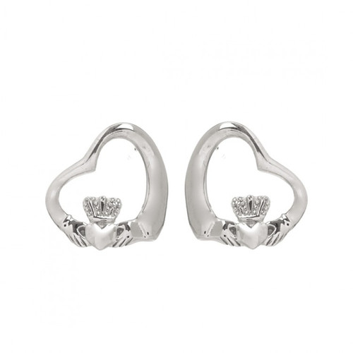 Claddagh Floating Heart Stud Earrings