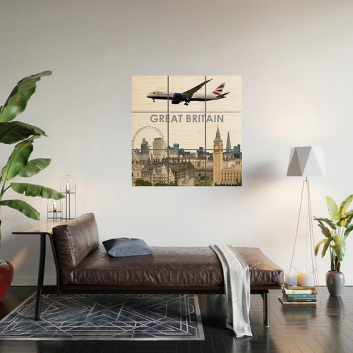 Great Britain 9-Piece Wood Wall Art (3ft x 3ft)