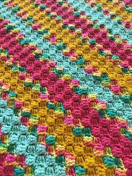 Baby Girls Rainbow, Pink, Mint, Yellow Blanket. 54x54. Hand Crocheted.