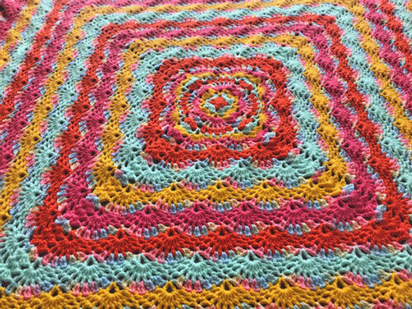 Baby Girl's Pink Wave Hand Crocheted Blanket. 52x52
