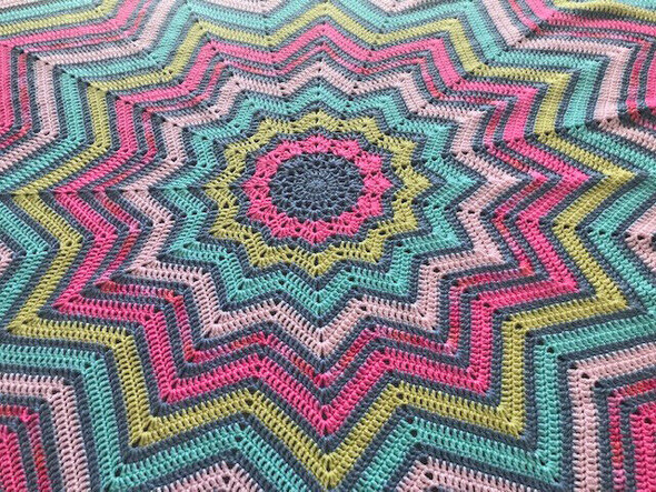 """Baby Girl's 12 Point Blanket. Pink, Soft Yellow, Mint. 78"""". Hand Crochted."""