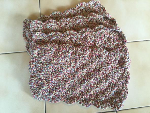 Multicolor Stripes Color Mug Rugs. Hand Crocheted. 7W x 12L. 100% Cotton.