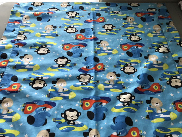 "Baby Boy Space Flannel Receiving Blanket 30"" x 30"" Handmade."