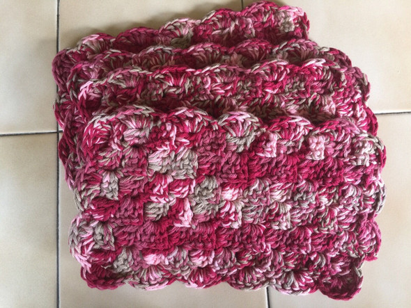 Red, Pink, Green Color Combo Mug Rugs. Hand Crocheted. 7W x 12L. 100% Cotton.