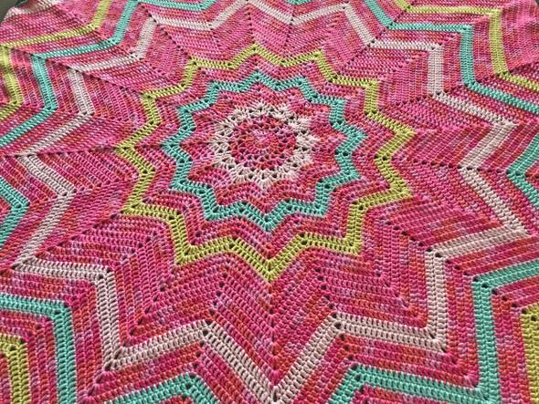"Baby Girl's 12 Point Blanket. Pink, Soft Yellow, Mint. 77"". Design III. Handmade"