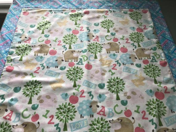 "Baby Boy ABC Flannel Receiving Blanket 30"" x 30"" Handmade."
