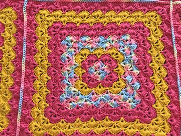 Baby Girls Rainbow, Pink, Yellow Blanket. 58x58. Hand Crocheted.