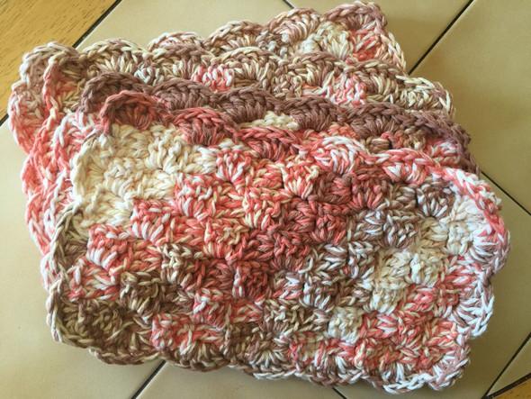 Brown,Orange,Cream Color Combo Mug Rugs. Hand Crocheted. 7W x 12L. 100% Cotton.