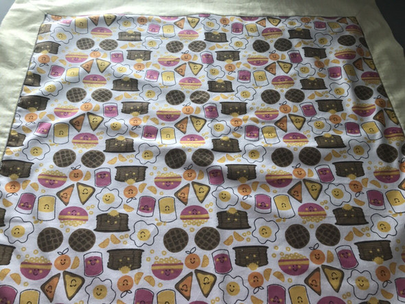 "Baby Boy or Girl Breakfast Flannel Receiving Blanket 30"" x 30"" Handmade."