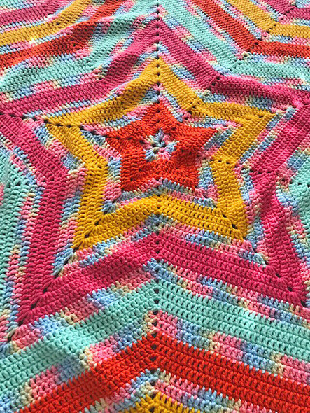 Baby Girl's 5 Point Star Blanket. Pink, Yellow, Mint. Hand Crocheted.