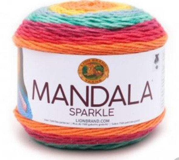 ion Brand's Mandala has sparked a movement, a fan based Facebook account has almost 30,000 followers and counting. But don't take their word for it: one cake of this beautifully colored super soft CYC 3 yarn will have you joining Mandala madness. Just when you thought it couldn't get more magical, we added color coordinated metallic thread to add a bit of bling to your favorite patterns. One cake makes a myriad of projects be it a generous shawl, hat, wrester set or even a baby blanket.