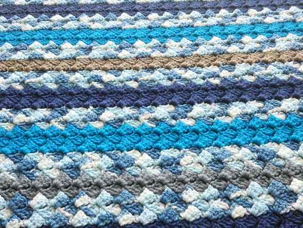 Baby Boy's Ocean & Sand Crocheted Blanket. 60x64