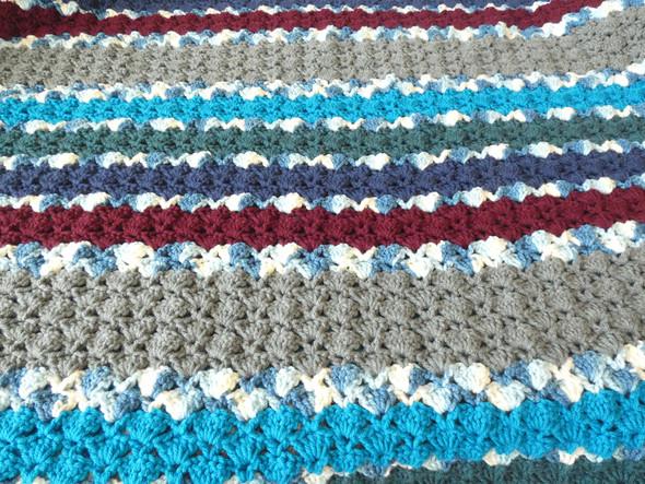 Baby Boy's Blue Calm Crocheted Blanket. 60x70