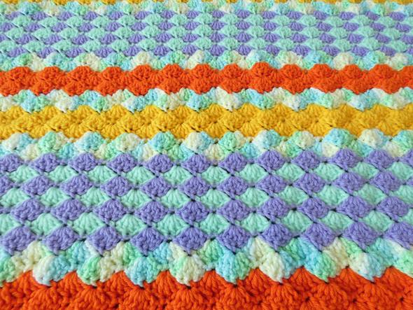 Baby Boys or Girls Soft Summer Crocheted Blanket. 64x62