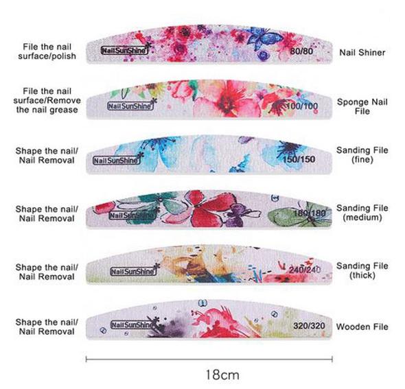 6 Piece Set Flower Desgin Manicure Files