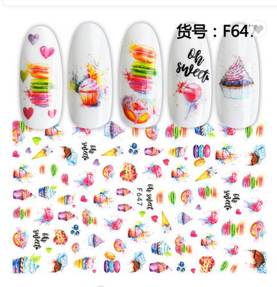 2PCS Sticker Nail Decals for Nail Art. Dessert and Fruit Style.