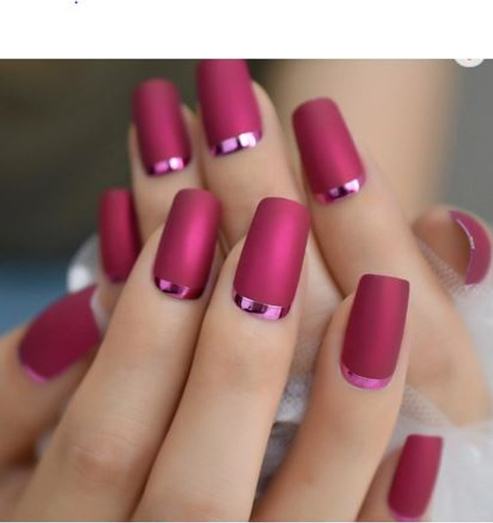 24PCS Matte Rose Red with Metallic Moon Press on Nails
