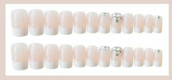 24PCS French Full Cover Press on Nails. Free Nail Glue.