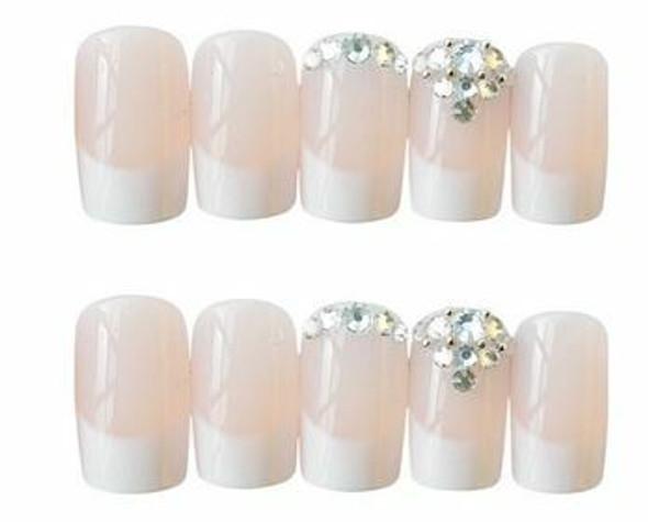 24PCS French Full Cover Press on Nails. Free Nail Glue.