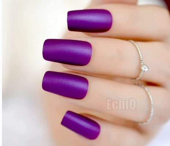 24PCS Matte Purple Press on Nails