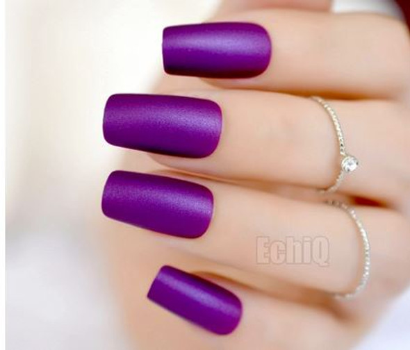 24PCS Matte Purple Press on Nails