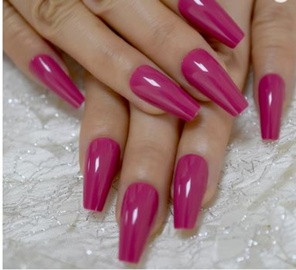 24PCS Shiny Rose Red Long Press on Nails